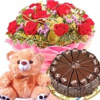 Flower n Cake and Teddy Bear Combo
