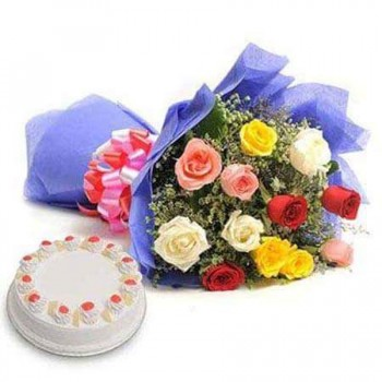 Mix Colour flowers with Cake