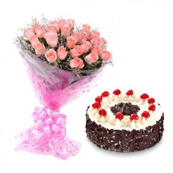 Hot Pink Roses with Black Forest Cake